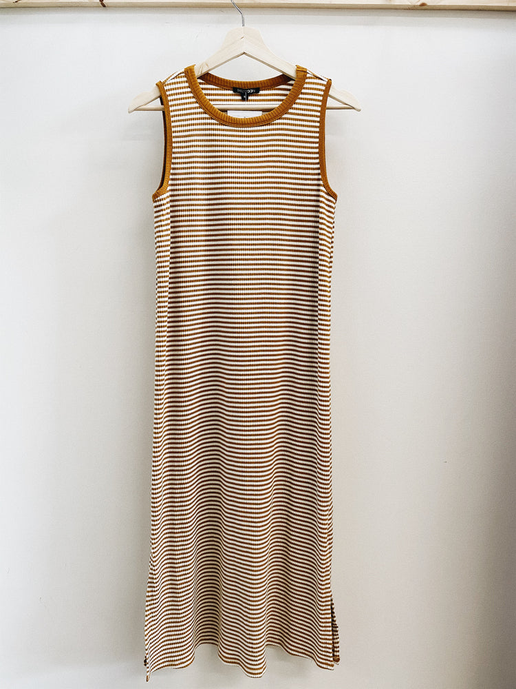 Striped muscle tank midi dress