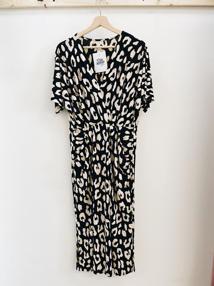 Animal print drape dress