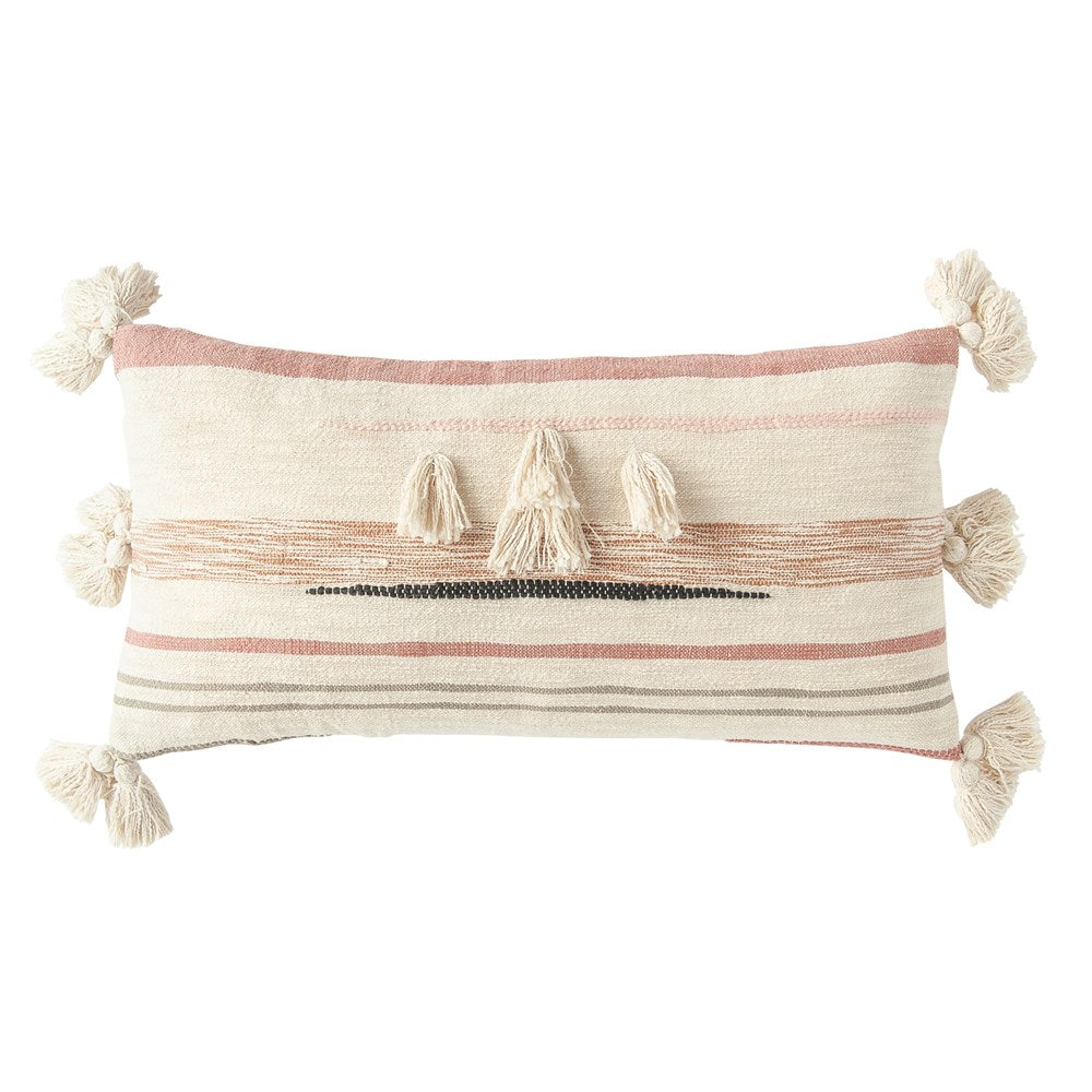Multi Color Lumbar Pillow with tassels