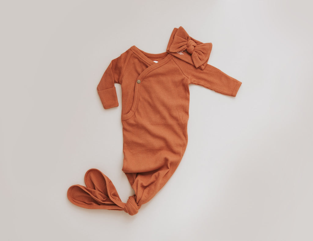 Brixton Phoenix- terra cotta ribbed knotted gown