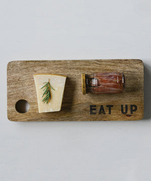 "Load image into Gallery viewer, Mango Wood Cutting Board, ""Eat Up"""