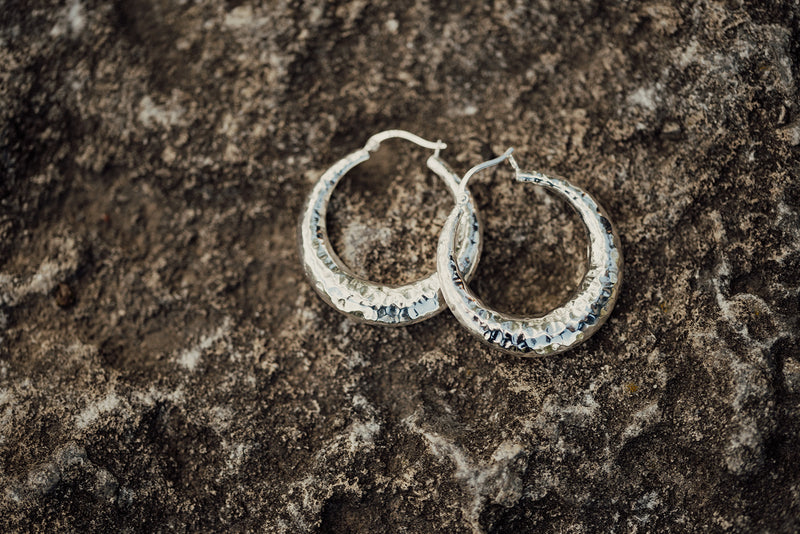 Sterling Silver Hammered Round Hoop