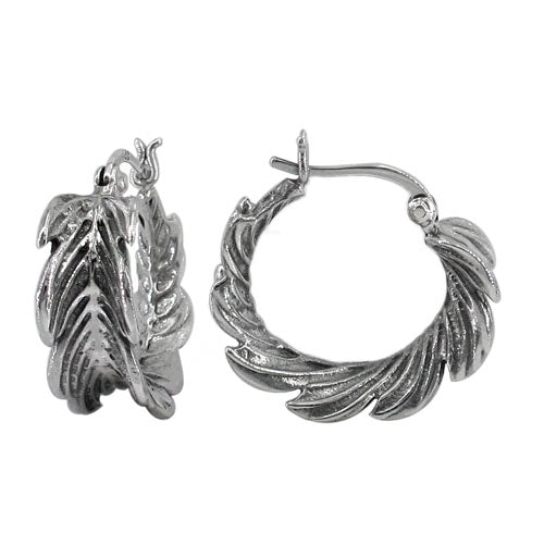 Sterling Silver Feather Hoop