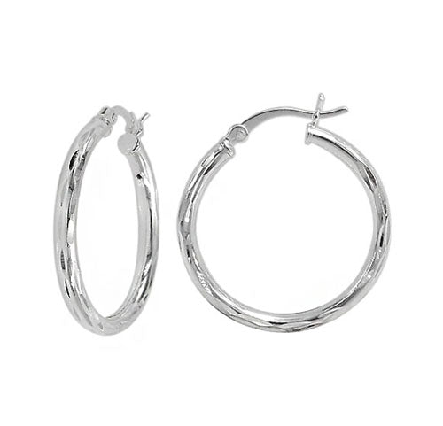 Sterling Silver Diamond Cut Hoop