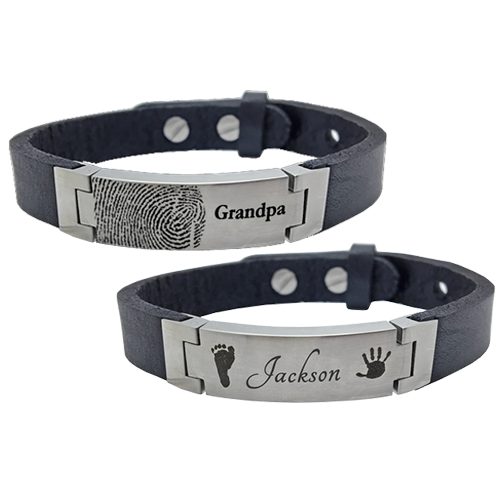 Personalized Stainless Steel Leather Bracelet