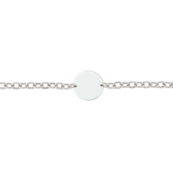 Sterling Silver Bracelet with Engravable Disc
