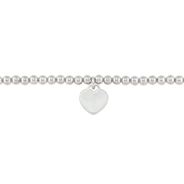 Sterling Silver 5mm Bead Ball Bracelet with Engravable Heart