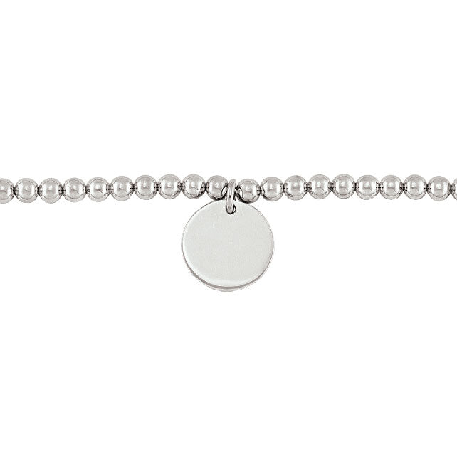 Sterling Silver 5mm Bead Ball Bracelet with Engravable Disc