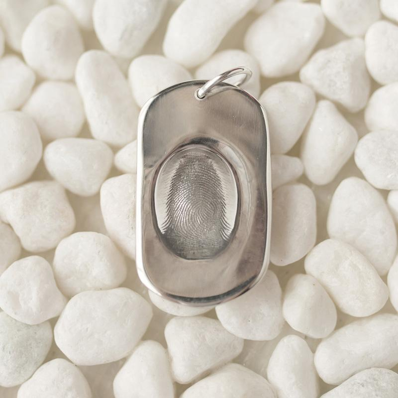 Dog Tag Fingerprint Charm