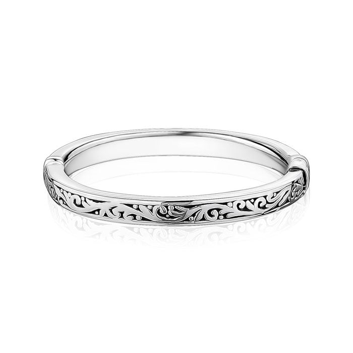 Silver Closed Paisley Bangle