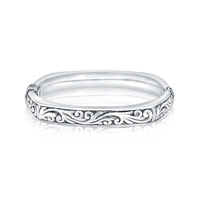 Silver Closed Square Paisley Bangle