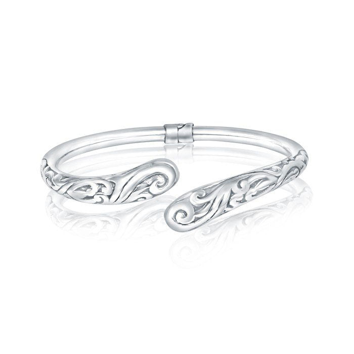 Silver Paisley Open Bangle