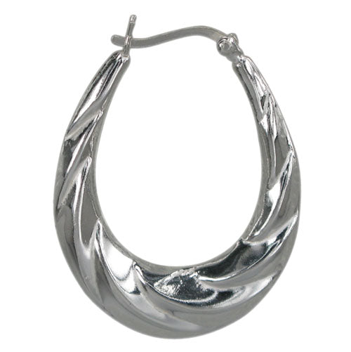 Sterling Silver Oval Twist Hoop