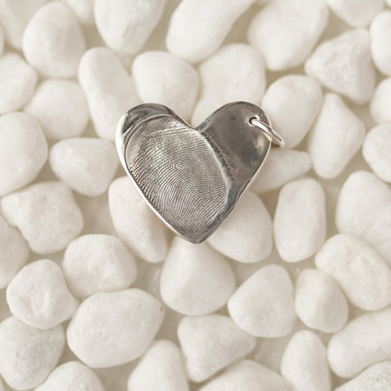 Large Heart Fingerprint Charm