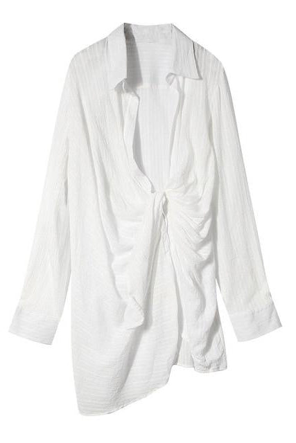 Plunge Shirt Dress - BIDA Boutique