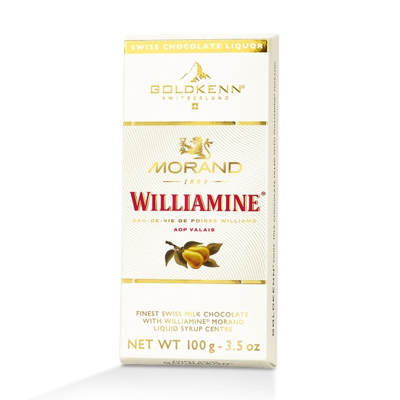 Morand Williamine pear Liquor Filled Chocolate Bar Goldkenn, Switzerluxe