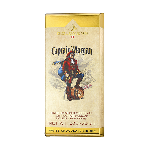 Captain Morgan Spiced Rum Liquor Filled Chocolate Bar Goldkenn, Switzerluxe