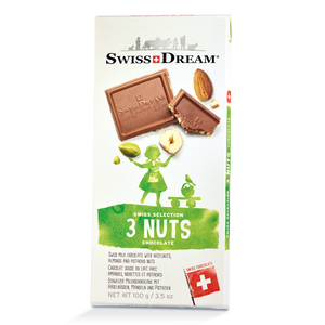 Milk Chocolate Bar with Almonds, Hazelnuts, Pistachios SwissDream