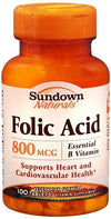 Sundown Folic Acid 800 mcg Tablets 100ct