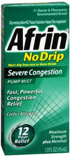Afrin Nasal Spray No Drip Severe Congestion Pump Mist 12 Hour 15 ml
