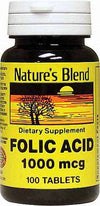 Nature's Blend Folic Acid 1000 mcg - 100 Tablet