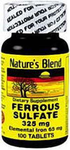 Nature's Blend Iron Ferrous Sulfate 325mg (Elemntal Iron 65mg) -100tbs