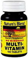 Nature's Blend Multivitamin No Minerals - 100 Tabs