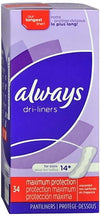 Always Dri-Liners Pantiliners Unscented For Sizes 14 Plus (case 12x34)