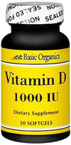 Basic Organics Vitamin D 1000 IU - 30 Softgels