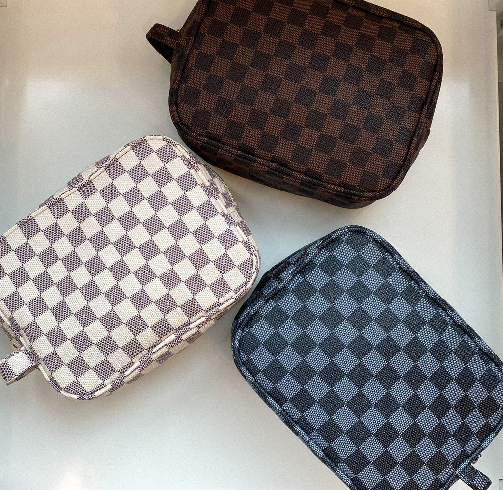 Checker Faux Leather Travel Case
