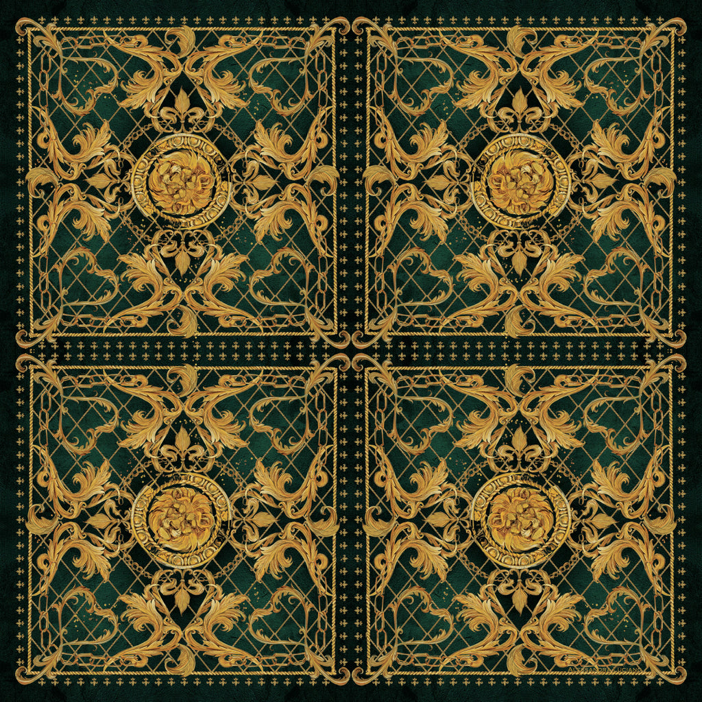 Byzantine Forest Green silk scarf - Alessandra Luciano