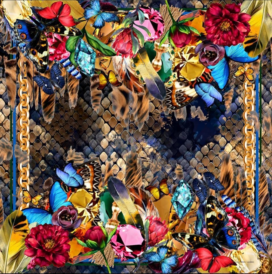 Bouquet of Beauty silk scarf Alessandra Luciano