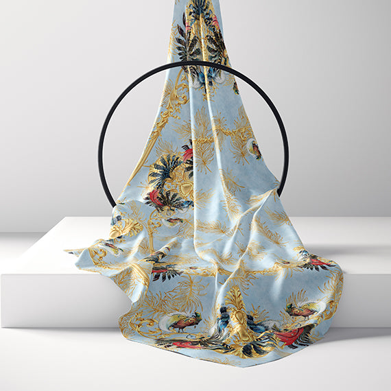 Birds of a Feather Blue silk scarf - Alessandra Luciano