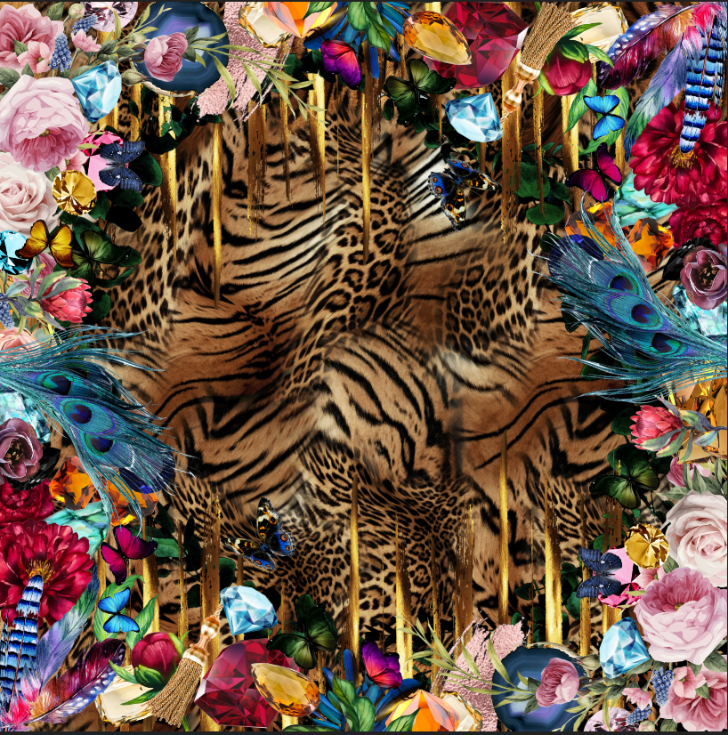 Floral Jungle silk scarf Alessandra Luciano