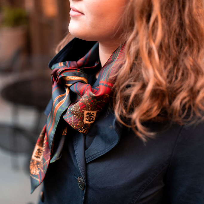 The Highlander Navy silk scarf - Alessandra Luciano