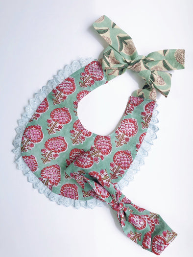 ⚘新入荷⚘ Baby Cheerful Bib with HeadBand  -GREEN-