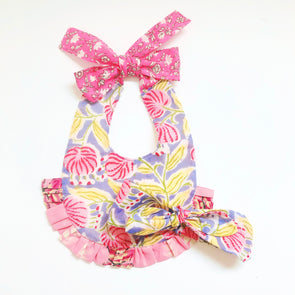 Baby Cheerful Bib with HeadBand  -PINK PURPLE-