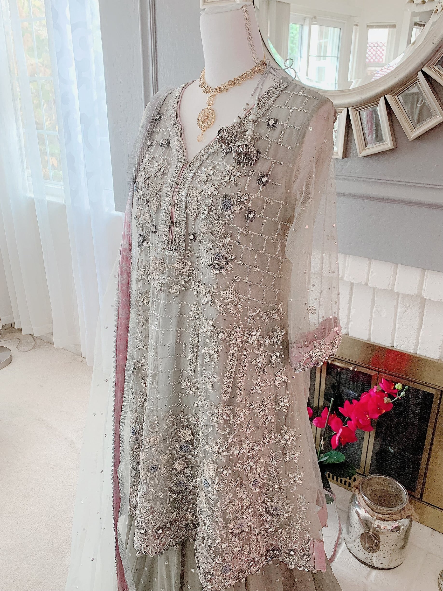 Ash Grey Nikah Dress