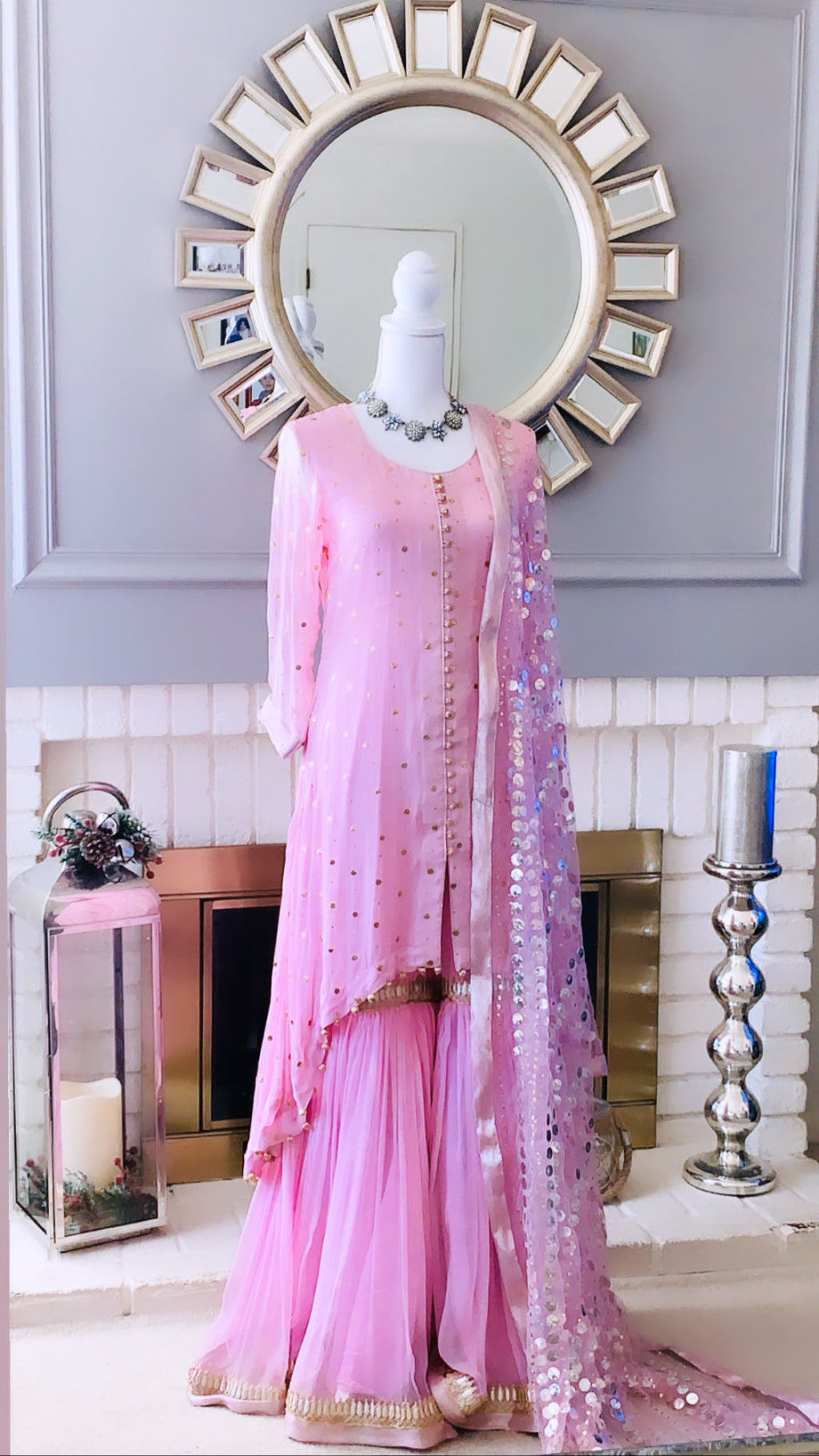Pink High Low Shirt with Gharara