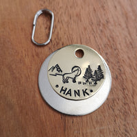 Howling wolf mountains trees scene dog cat tag pet tag #PoshTags