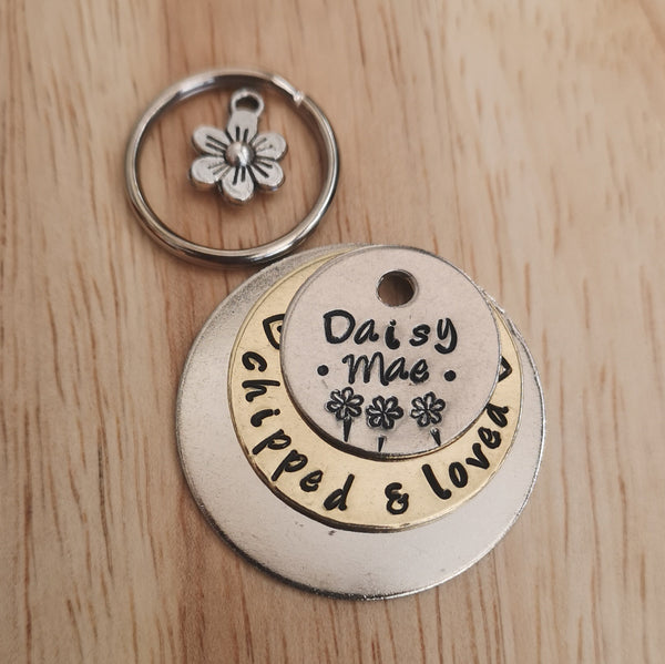 Three tier daisy handwriting font stamped dog tag pet tag #PoshTags