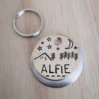 Mountain night time scenery dog cat pet tag
