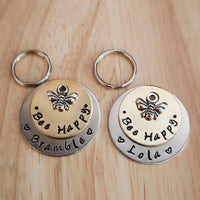 SMALLER TAGS - bee happy - puppy cat kitten dog cat pet tag #PoshTags