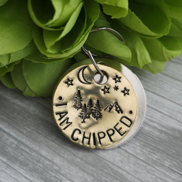 I am chipped mountain trees night time scenery dog cat pet tag