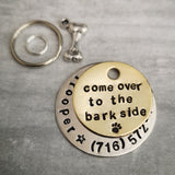 Come over to the bark side star wars inspired pet dog ID tag