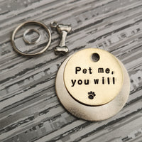 Pet me, you will -Yoda - Star Wars inspired pet dog ID tag