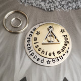Mischief managed - deathly hallows symbol - Harry Potter inspired dog tag pet tag #PoshTags