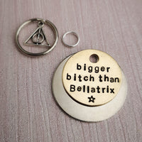 Bigger Bitch than Bellatrix deathly hallows horcrux dog pet id tag Harry Potter inspired #PoshTags