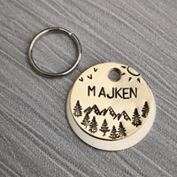 Mountains and sunshine trees scene forest night sky dog pet tag #PoshTags