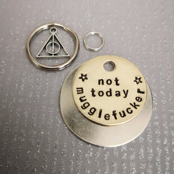 Not today mugglefucker - Rude Tag Funny deathly hallows horcrux dog pet id tag Harry Potter inspired #PoshTags